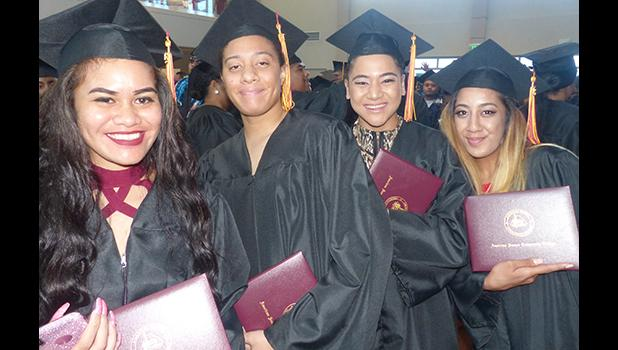 Some of the graduates at the American Samoa Community College's Spring 2018 graduation ceremony last Friday at the ASCC Multi Purpose Center Auditorium. [photo: Leua Aiono Frost]