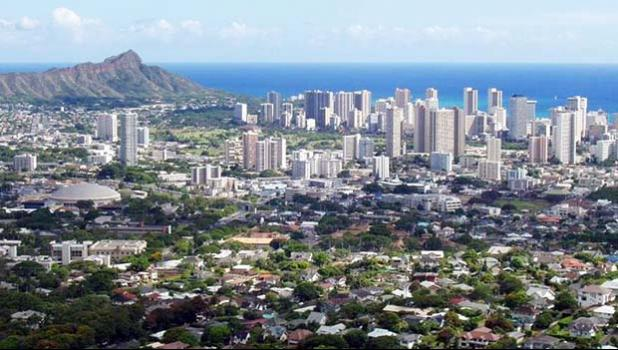 View of Oahu featuring downtown Honolulu and Diamond Head.