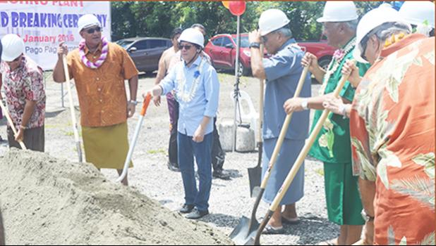 Groundbreaking: Leaders from the American Samoa Government and the Fono along with Anthony Bernardo of AVM Bernardo Engineering during a groundbreaking ceremony for a food processing plant across from Public Works in Tafuna, in January 2016.  [SN file photo]
