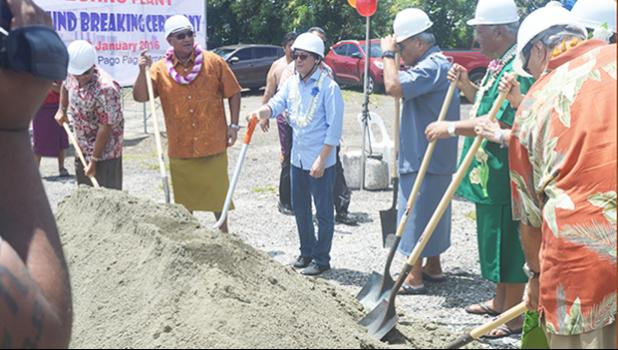 in this Samoa News 2016  file photo, leaders from the American Samoa Government and the Fono along with Anthony Bernardo of AVM Bernardo Engineering are pictured during a groundbreaking ceremony for a food processing plant across from Public Works in Tafuna. [SN file photo]