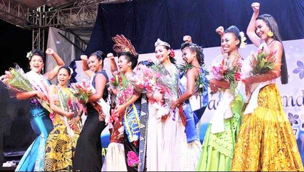 Nine contestants vied for the crown in the 2017 Miss Pacific Islands Pageant, with Miss American Samoa (center) winning on Saturday, December 09, 2017 in Nadi, Fiji, 'in the place where happiness finds you'.  [photo: Samoa Events Incorporated (SEI)]
