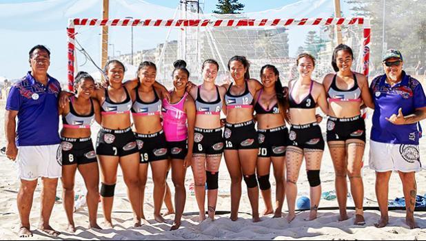 American Samoa's women's beach handball team with their coaches