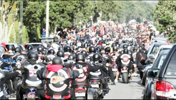 The procession of Head Hunters and other gang members