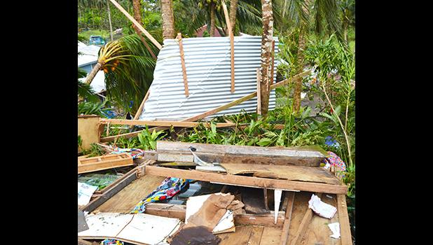 The remains of Falaula Paulo's home in Pago Pago after Tropical Storm Gita destroyed it. He says he should have listened to his wife and 'prepared' for the coming storm, instead of listening to rumors and friends that it would just be 'strong winds'. [photo by AF]