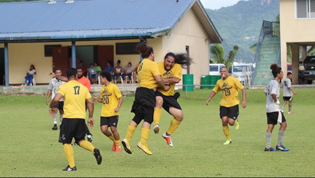 Rambo Tapui of Pago Youth celebrates with Puni Samuelu