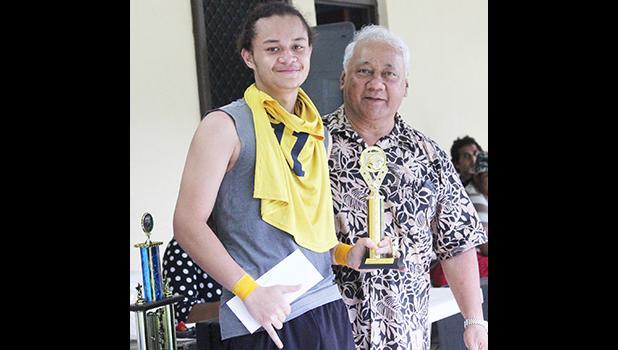 Pago Youth's Gabriel Taumua with Sen. Faiivae Iuli Alex Godinet