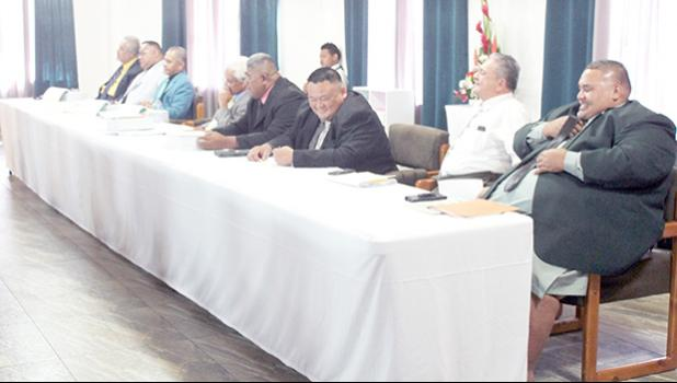 House members attending yesterday's Fono Joint Budget Committee hearing