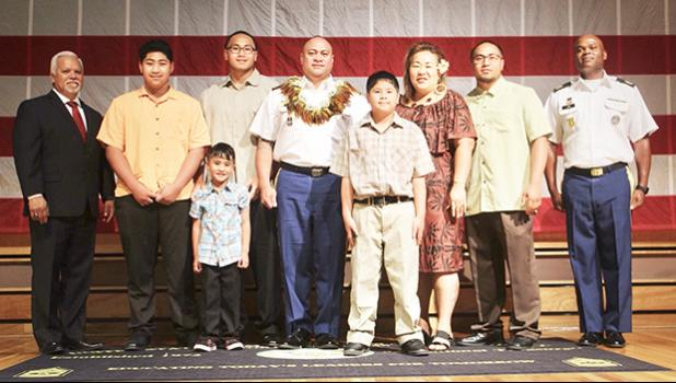 SGM Salele'a Tuiolemotu with family after his pinning ceremony
