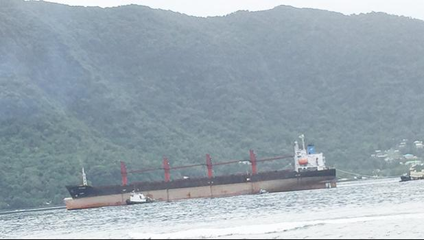 North Korean cargo vessel Wise Honest coming into Pago Pago harbor. [photo: Samoa News]