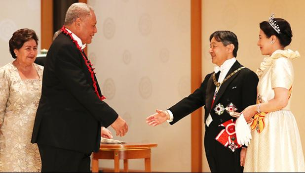 Head of State, His Highness Tuimaleali'ifano Va'aletoa Sualauvi II and Her Highness Masiofo Faamausili Leinafo Tuimaleali'ifano attended the Ceremony of Enthronement for His Majesty Emperor Naruhito of Japan