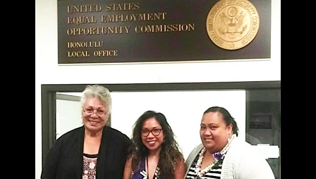 (l-r) Victims Advocate Ipu Avegalio Lefiti; Director of the Equal Employment Opportunity Commission (EEOC) Glory Gervacio Saure, and Emily Mauga. The women recently met in the federal building in Honolulu where services offered by the EEOC were discussed in depth.  [courtesy photo]