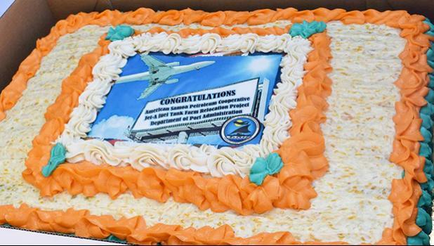 Cake celebrating dedication of Jet Fuel Tank Farm