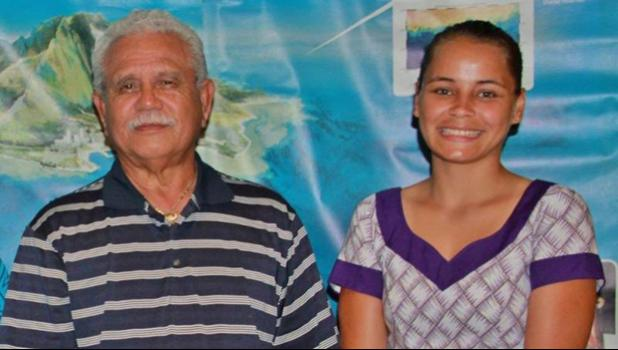 2015 scholarship recipient Faasalafa Kitiona (right) is now employed at the America Samoa Department of Marine and Wildlife Resources under Director Henry Sesapasara (left). [courtesy photo]