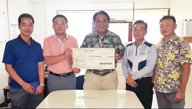 Pictured (l-r): Hyun Chui Yoon (secretary); Hyon Chong Park (current president); LBJ CEO Faumuina John Faumuina; Seong Lim Heo (incoming president); and Taek Yong Kweon (accountant/treasurer).