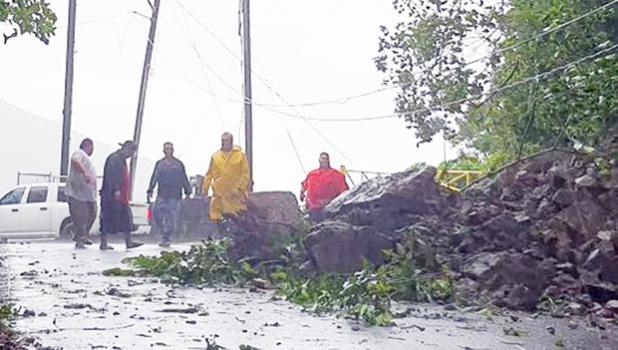 A group of men at landslide area