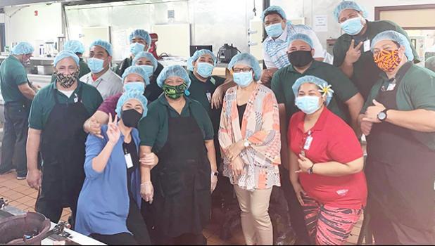 LBJ Hospital dietary staff wearing face masks
