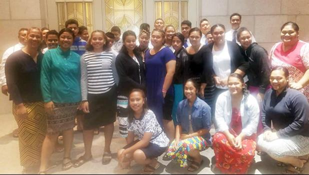Youth groups from the Tafuna 3rd and Mesepa 2nd Wards of the Church of Jesus Christ of Latter Day Saints, in front of the Apia, Samoa Temple