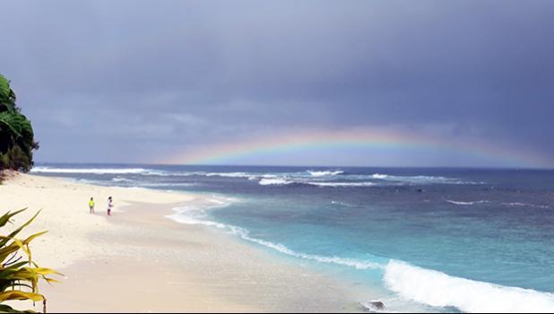 A rainbow over Aunuu