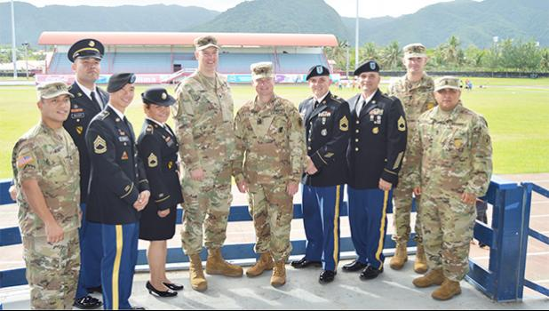 US Army officials — both local and from off island — after the administering of the Oath of Enlistment for the 31 future US Army soldiers on Wednesday afternoon at the Veterans Memorial Stadium in Tafuna.  [photo: AF]