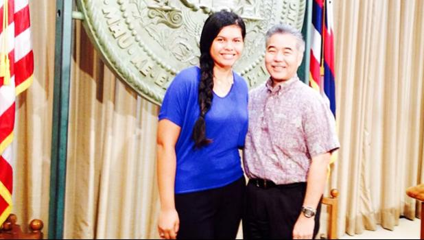 Governor Ige of the State of Hawaii pictured with Fa'atausala Stanley, a student of Le Fetuao Samoan Language Center
