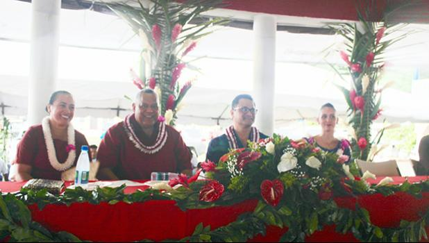 [l-r] Mrs. Ella Failautusi Mauga with her husband, Lt. Gov. Lemanu Peleti Palepoi Sialega Mauga, candidate for governor; along with now-former Attorney General Talauega Eleasalo Va'alele Ale, candidate for Lt. Gov., and his wife Marian McGuire Ale
