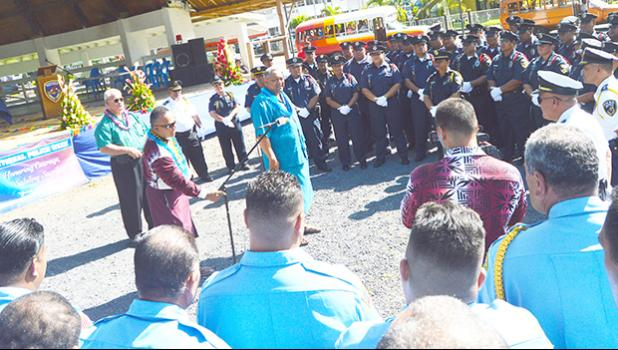 Lt. Lemanu Palepoi Sialega Mauga addressing DPS officers and personnel at the Fagatogo Malae yesterday morning during the official opening of Police Week in American Samoa.  [photo: AF]