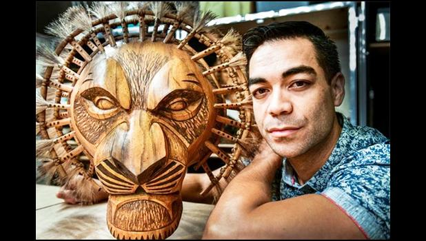 Gerald Ramsey, originally from the island of Aunu'u in American Samoa, with his Lion King mask