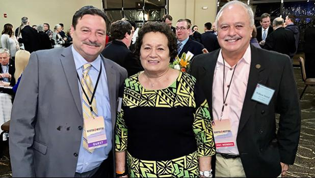 (L-R) Frank Barron, National Committeewoman Aumua Amata, and American Samoa Chairman Taualapapa Will Sword