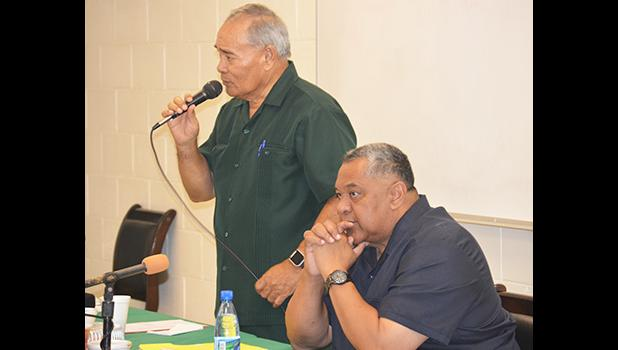 Gov. Lolo M. Moliga, with Lt. Governor Lemanu Peleti Mauga, addressing the cabinet during a meeting last week. The governor says he is going to veto some of the revenue measures that were passed by the Fono. [photo: AF]