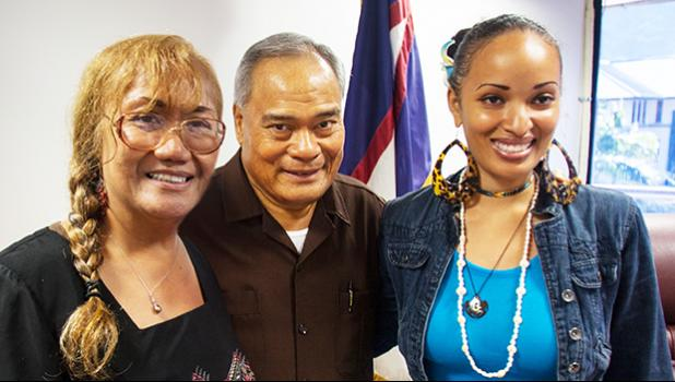 American Samoa filmmaker Queen Muhammad Ali is one of 70 finalists for the 2017 National Creative Placemaking Fund (NCPF).  The ArtPlace Fund invests money in communities across the country in which artists, arts organizations, and arts and culture activity help drive community development change. Governor Lolo Moliga conveyed last week how proud he is of Queen's efforts. Pictured Queen Muhammad Ali (right), Gov Lolo Moliga (center), Flo Pereira (left). [courtesy photo]