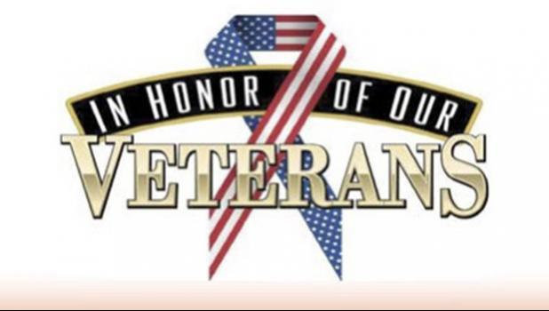 Sign reading — In honor of our veterans