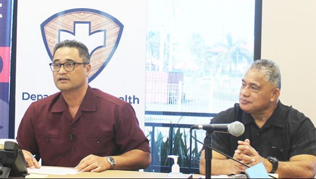 Acting Gov. Talauega Eleasalo V. Ale (left) and Motusa Tuileama Nua