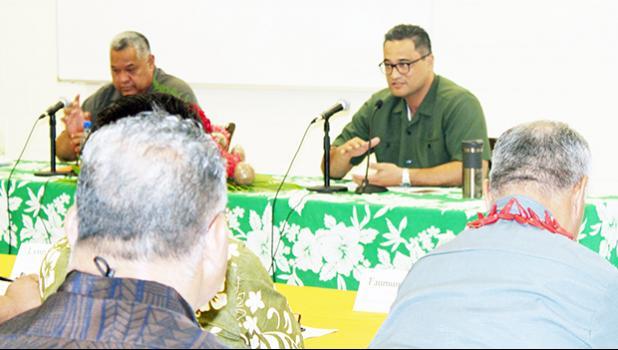 Gov. Lemanu Peleti Mauga (left) and Lt. Gov. Talauega Eleasalo Va'alele Ale (right)