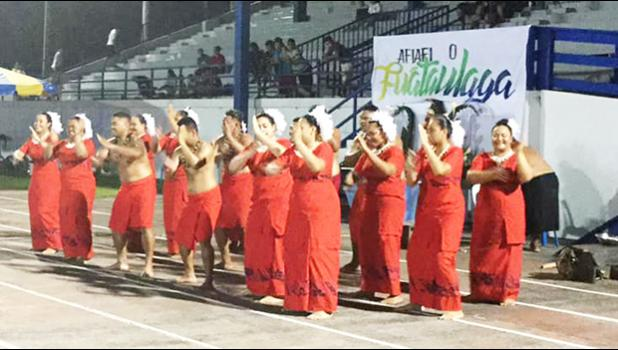 Malaeloa Methodist Youth during their performance Thursday night at the Veterans Memorial Stadium,