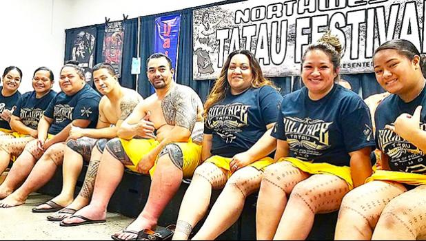 6 women and 2 men who got their traditional malu and pe'a