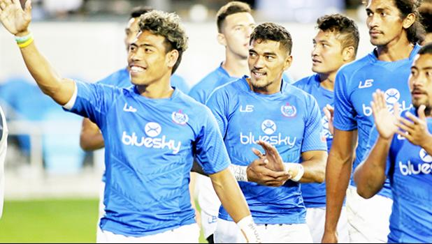 Manu Samoa went on a thank you tour of Avaya Stadium after their victory over Fiji 26-14 to secure 5th place at the innaugural Silicon Valley 7s, in San Jose, California, USA.  [Photo: Barry Markowitz]