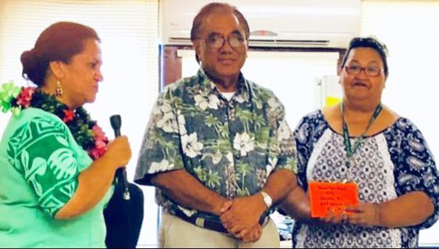 ducation Department director Dr. Ruth Matagi-Tofiga (far left), on behalf of the National Honor Society of Manua High School, presenting a $1,000 donation to hospital CEO, Faumuina John Faumuina (middle) and Dialysis nursing director Olita Tafiti