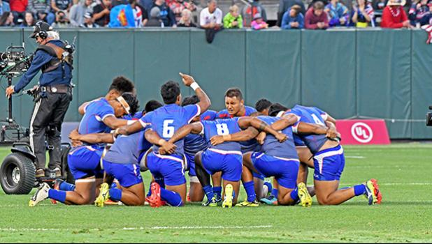 Manu Samoa 7s team in San Francisco, CA