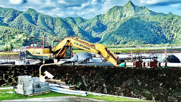 McConnell Dowell continues work on a new concrete apron fronting the arrival/departure halls at Pago Pago International Airport