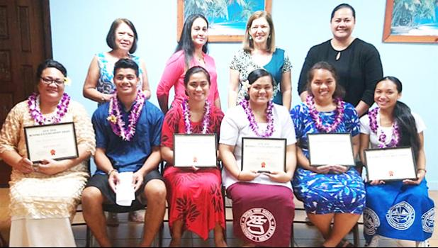 Chairwoman of the McDonald's American Samoa Scholarship Program, Dolores Tautolo (standing 2nd from left) with other the board members and scholarship recipients