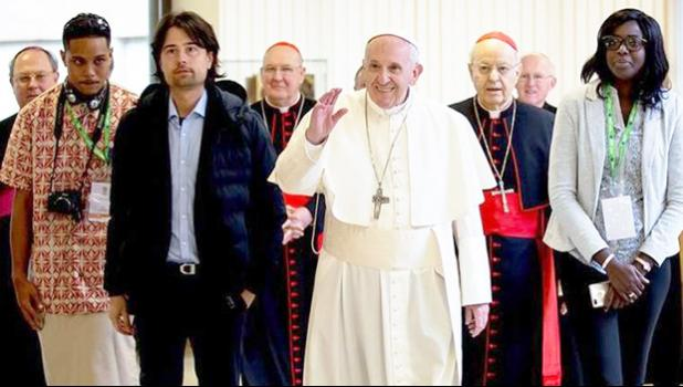 Paul Collins (second from left) with Pope Francis at the Vatican [Photo: Catholic News Agency]