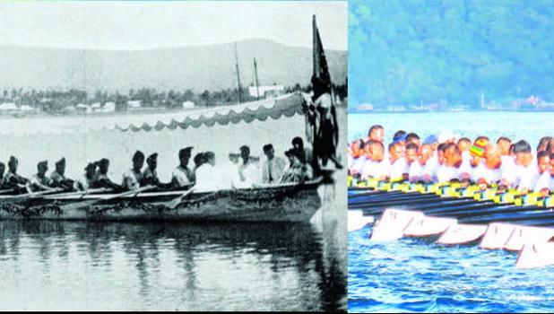 An old fautasi circa 1903, and a local new hi-tech fautasi built for speed — racing only. The former was built for war, cargo, passengers and racing. [Photos: American Samoa's Historic Preservation Office archives, and Samoa News files]