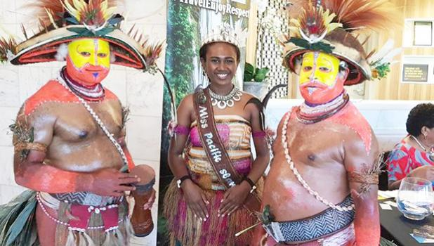 Miss Pacific Islands Leoshina Kariha with other performers