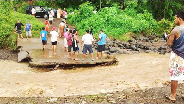 Road washout at Moamoa Fou. [Samoa Observer]