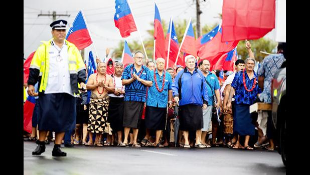 H.R.P.P.'s deputy leader, Lauofo Fonotoe Pierre and others marching