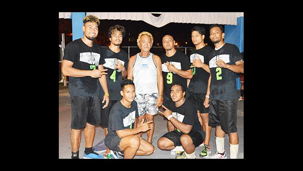 The two-time Mosooi International Volleyball Championship champion team — the Laumua o Tumua of Samoa, after defending their title again this year against local Annex Boys volleyball team. [photo by AF]