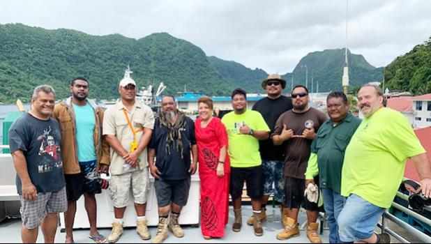 The MV Manu'atele II crew, including chief engineer, Jimi Lang (far right), and master captain Loleni Faiai (2nd from right). Also pictured is  Capt. Sasualei Moliga and Port Administration director Taimalelagi Dr. Claire Poumele