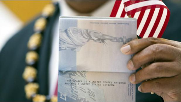 """Lead plaintiff John Fitisemanu's passport says, """"THE BEARER IS A UNITED STATES NATIONAL AND NOT A UNITED STATES CITIZEN."""" (Katrina Keil Youd / Equally American)"""