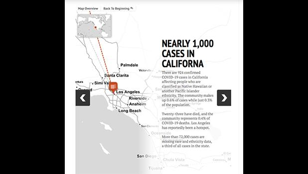 Interactive map showing 1,000 cases in California