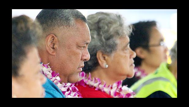 Lt. Governor Lemanu Peleti Mauga (c) and First Lady Cynthia Moliga during the Rotary Club of Pago Pago and Hawaiian Airlines Tsunami Memorial Service this past Saturday morning. [photo: TG]
